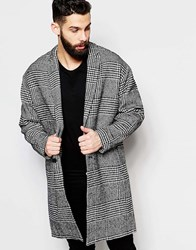 Asos Drop Shoulder Check Overcoat Black