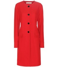 Marni Cotton Blend Twill Coat Red