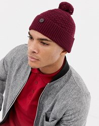 Ted Baker Multhat Bobble Beanie With Multi Stitch Red