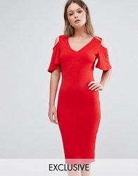 Club L Midi Dress With Cold Shoulder Frill Detail Red