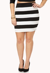 Forever 21 Striped Bodycon Skirt Black White