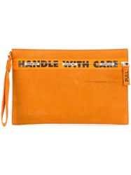 Heron Preston Handle With Care Clutch Yellow And Orange