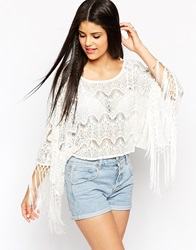Hazel Crochet Lace Poncho Top White