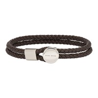 Boss Brown Bertold Double Wrap Braided Bracelet