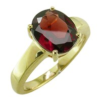 Ewa 9Ct Gold Oval Ring Garnet