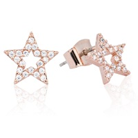 Astrid And Miyu Tricks Star Stud Earrings Rose Gold