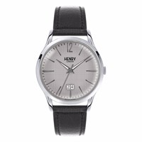 Henry London 41Mm Piccadilly Leather Jumbo Date Watch Black Grey