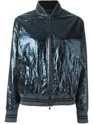 Diesel Black Gold Cracked Effect Bomber Jacket Blue