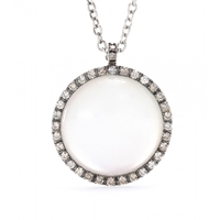 Roberto Marroni 18Kt White Gold Necklace With Sunflower Quartz And Brown Diamonds