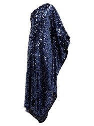 Roland Mouret Ritts One Shoulder Sequinned Gown Navy
