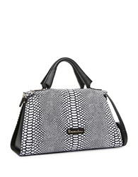 Braccialini Martina Leather Satchel Black White