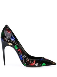 Saint Laurent Star And Moon Sequinned Pumps Black