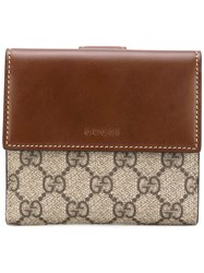 Gucci 'Gg Supreme' French Flap Wallet Women Calf Leather One Size Brown