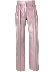Alberta Ferretti Shimmery Tailored Trousers Pink And Purple