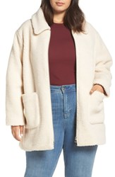 Halogen Plus Size Zip Front Teddy Coat Ivory
