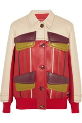 Prada Paneled Leather Jacket Red