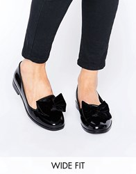 Asos Monica Wide Fit Bow Slippers Black Patent