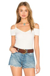 Project Social T Cold Off Shoulder Top White