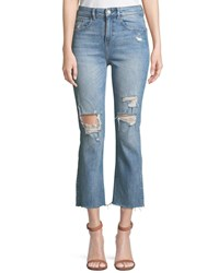 Dl1961 Jerry High Rise Distressed Straight Leg Cropped Jeans Medium Blue