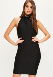 Missguided Black High Neck Cowl Bodycon Dress