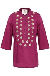 Figue Woman Sequin Embellished Cotton Tunic Plum