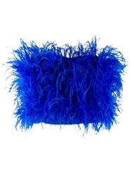 Attico Feathers Strapless Top Blue