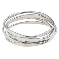John Lewis Wave Bangles Pack Of Five Silver