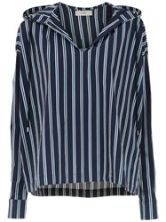 Egrey Striped Hooded Top Blue