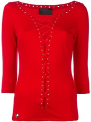 Philipp Plein Lace Up Top Red