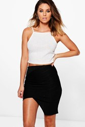 Boohoo Bandage Asymetric Bodycon Midi Skirt Black