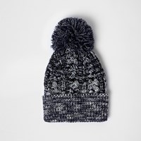 River Island Mensnavy Twist Knit Bobble Hat