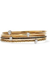 Alexander Mcqueen Set Of Four Gold Tone Embellished Bracelets
