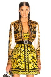 Versace Scarf Print Blouse In Abstract Animal Print Yellow Abstract Animal Print Yellow