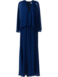 Msgm Tulle Pleated Cape Dress Blue