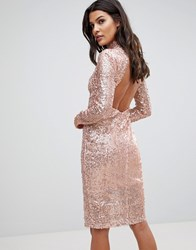 Naanaa Sparkling Sequin Midi Dress With Open Back Rose Gold