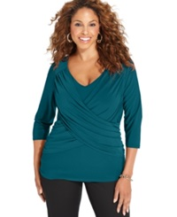 Ny Collection Plus Size B Slim Three Quarter Sleeve Top Moroccan Blue