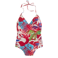 J.Crew Paradise Floral Deep V Halter One Piece Swimsuit Red Ivory Multi