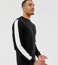 Another Influence Tall Arm Panel Crew Neck Sweat Black