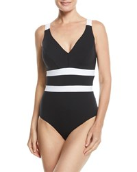 Jets By Jessika Allen Classique V Neck Underwire One Piece Swimsuit Available In Extended Cup Size Black