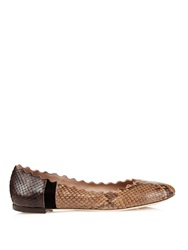 Chloe Lauren Scalloped Edges Python Flats