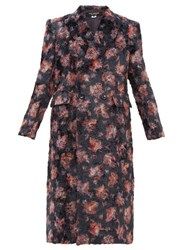 Junya Watanabe Floral Print Double Breasted Faux Fur Coat Black Multi
