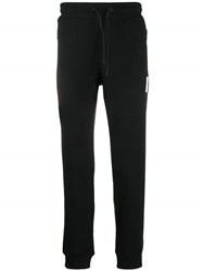 Emporio Armani Cuffed Logo Patch Track Pants Black