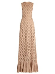 Ryan Roche Ruffled Hem Cashmere Crochet Knit Maxi Dress Beige