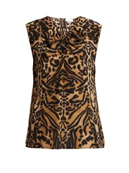 Raey Knot Front Tiger Print Silk Top Brown Multi