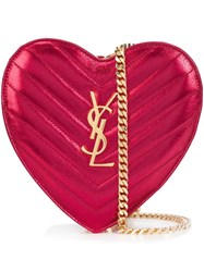 Saint Laurent Mini 'Love' Heart Chain Bag Red
