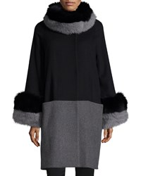 Belle Fare Cashmere Colorblock Coat With Fur Trim Black Two Tone