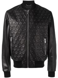 Versace Studded Embroidered Triangle Jacket Black