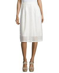 Neiman Marcus Pleated Lace Jersey Midi Skirt White