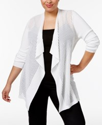 Jm Collection Plus Size Sheer Open Front Cardigan Only At Macy's Bright White