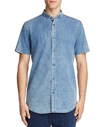 Zanerobe Tuck Chambray Regular Fit Button Down Shirt Mid Denim